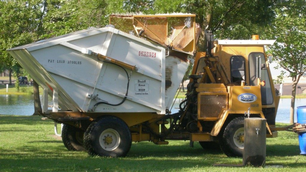 City leaders are now using specialized, single operator refuse removal trucks to empty receptacles at inland park, hiking trails and sports facility.