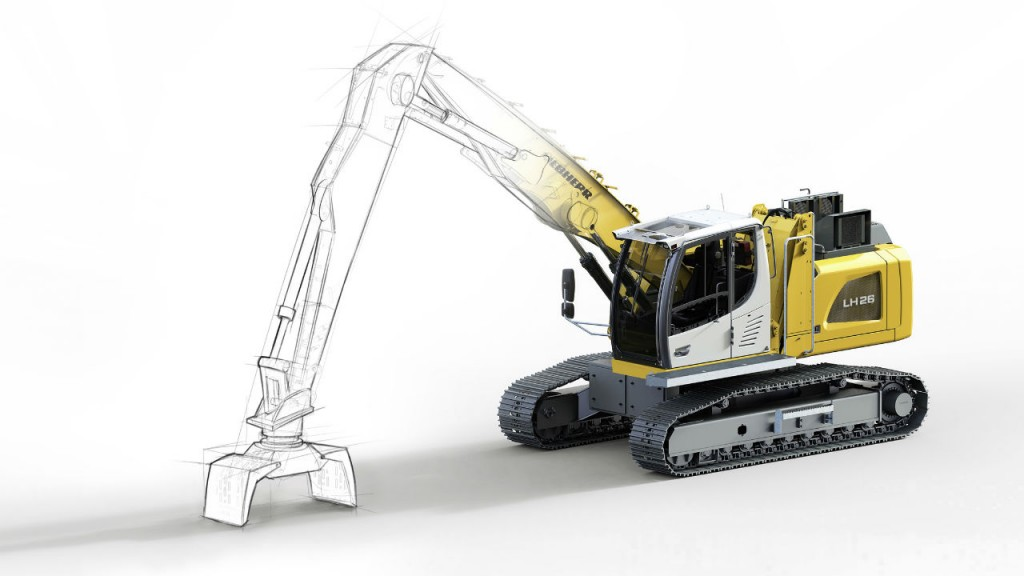 The Liebherr LH 26 C Electro Industry material handler is quiet and environmentally friendly thanks to electric drive.