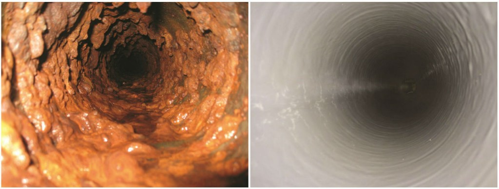 Before and after relining, using the Tomahawk pipe cleaning system in combination with a sprayin- place liner from 3M.
