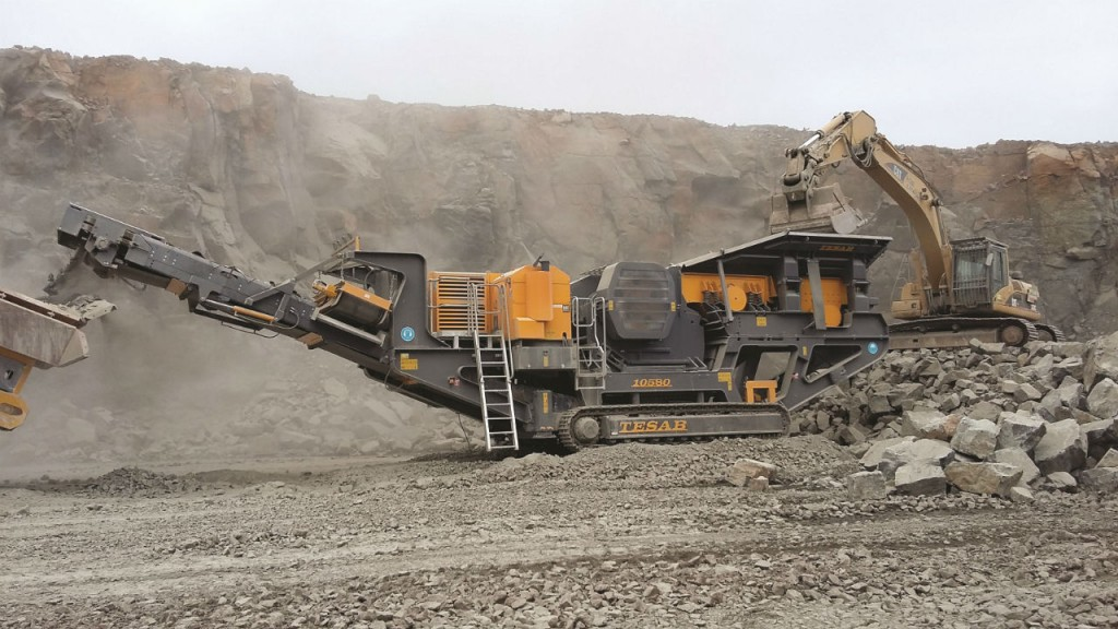 The Tesab 10580  Tracked Jaw Crusher is a heavy duty mobile crushing unit designed to crush primary rock at the quarry face.