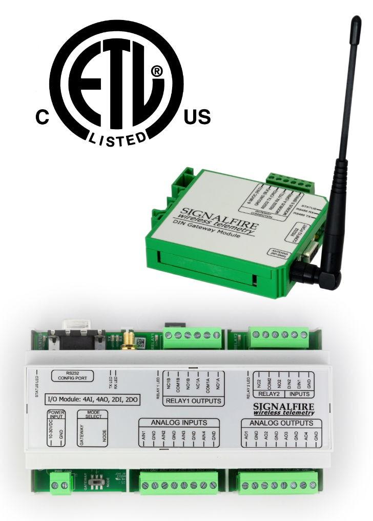 Wireless I/O System and Modbus Din Mount Gateway.