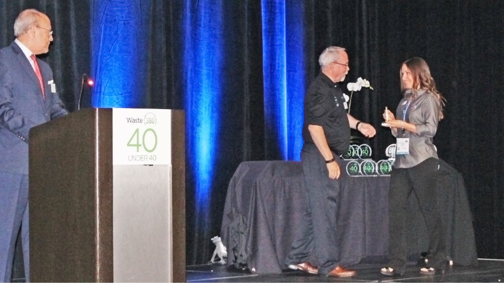 Ashley Davis, Director of Sales and Marketing from CP Group, won the Waste360's first annual 40 Under 40 award at WasteExpo.