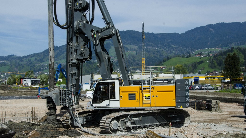 Rotary drilling rig type LB 44 from Liebherr on-site in Dornbirn, Austria.