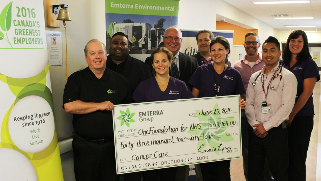 Brian Gogo, Emterra's Vice President of Ontario Operations, presented the cheque to the WFCC and staff members in front of the unit's ceremonial bell that is rung by patients who have completed their treatment.