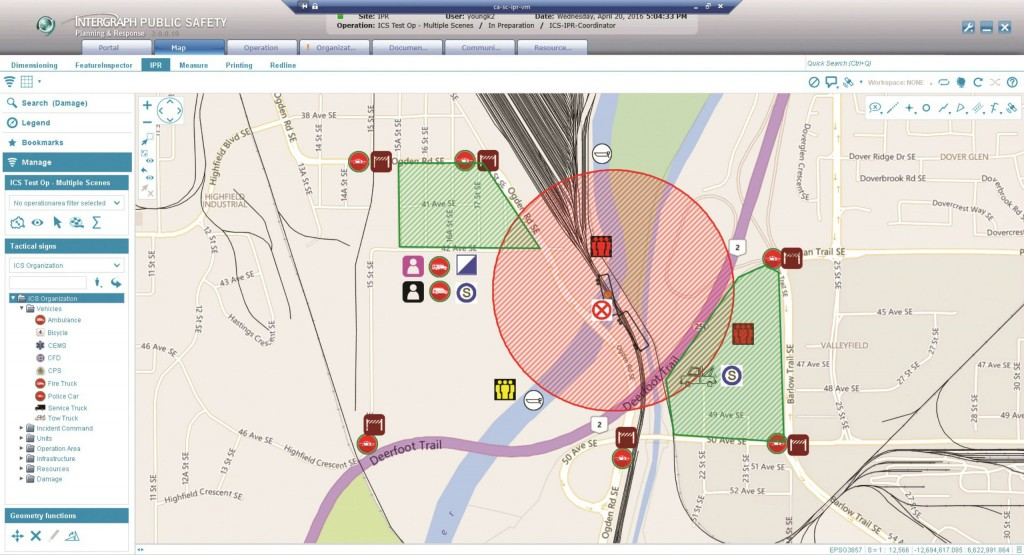 The Intergraph Planning & Response Map Module provides users the ability to place symbols for units, tactile symbols and other annotations by dragging and dropping from a list. The red circle signifies the 'Danger Zone' and the green areas are 'Evacuation Areas' for a scenario depicting a train accident in Calgary.
