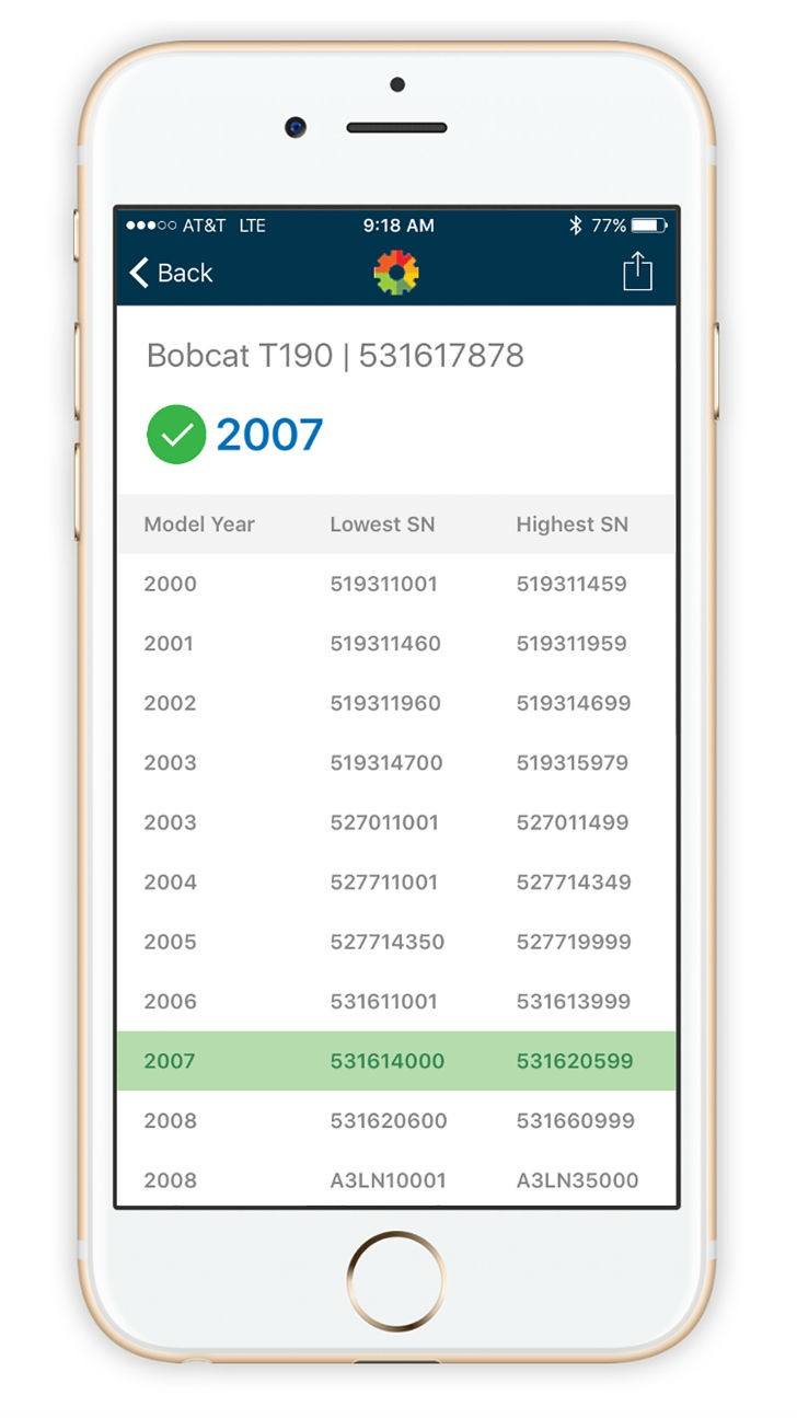 The EquipmentWatch Verification mobile app enables both serial number and VIN decoding from anywhere in the field.