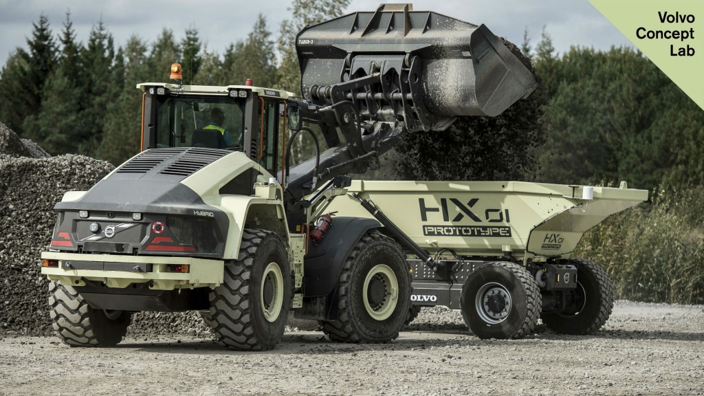 HXO1 autonomous battery-electric load carrier and the LX1 prototype electric hybrid wheel loader.