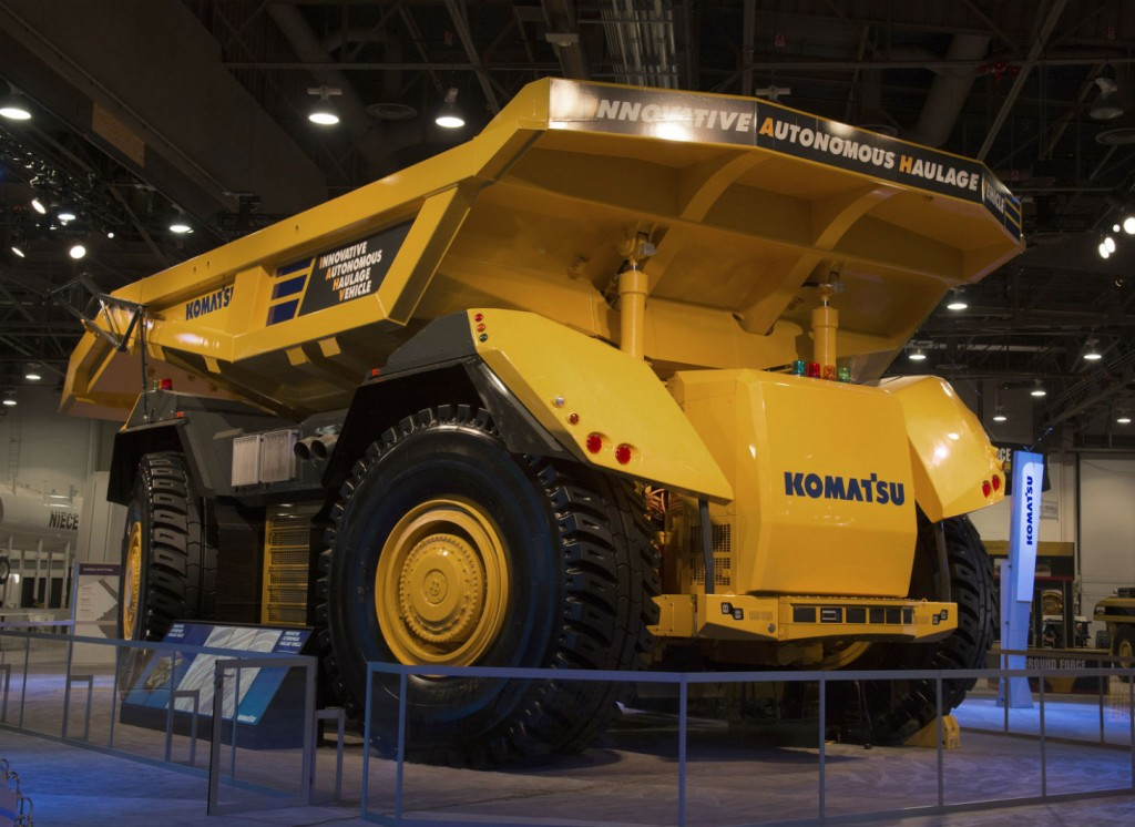 Komatsu's Innovative Autonomous Haulage Vehicle at MINExpo International 2016 in Las Vegas.