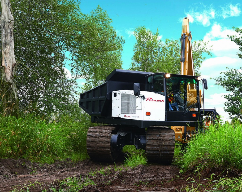 The PANTHER T12 carries up to 11 340 kg (25 000 lb) worth of heavy equipment, materials and supplies out to the worksite without effort while exerting very low ground pressure.