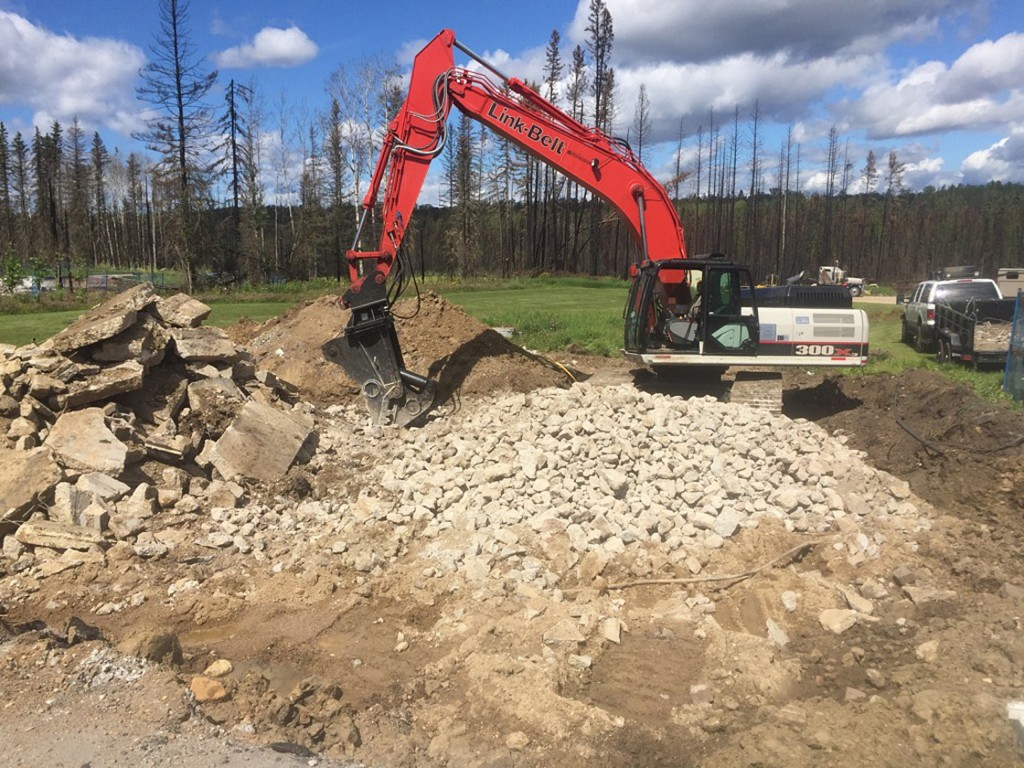 A Link-Belt tracked excavator is part of the Concrete Army's arsenal of equipment, along with a Cat 336, and attachments from Bateman, Atlas Copco and Vibra-Ram, all from local supplier Terrafirma Equipment Sales & Rentals