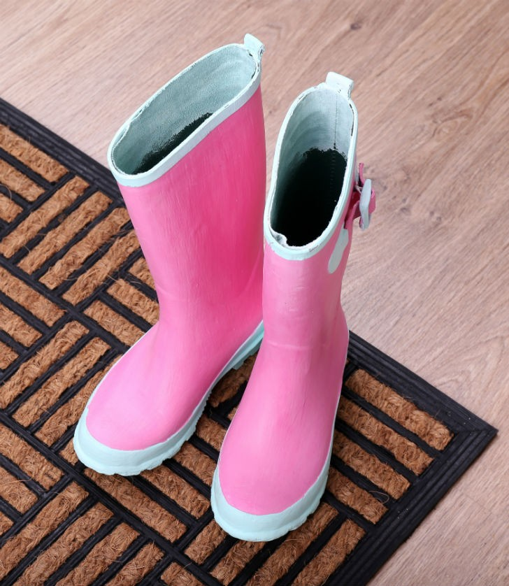 Pink Gum-tec Gumboots are made with recycled chewing gum.