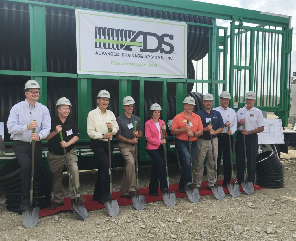 HARRISONVILLE, Mo. - At the groundbreaking for the new ADS plant here were (left to right) Greg Bohn, Bill Shaffer, Joe Chlapaty, Kevin Kish of ADS, Rep. Vicky Hartzler (R-Mo.), Brian Hasek, Mayor of Harrisonville, Gary Ashley, ADS, Tom Fussner, ADS and Sen. Ed Emery (R-Lamar).