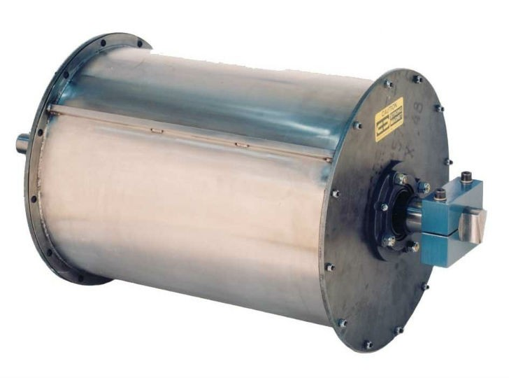 Rotating Drum Magnets provide good separation in applications where there is a high concentration of metal contamination or where terminating the product flow for cleaning of the magnet is not feasible.