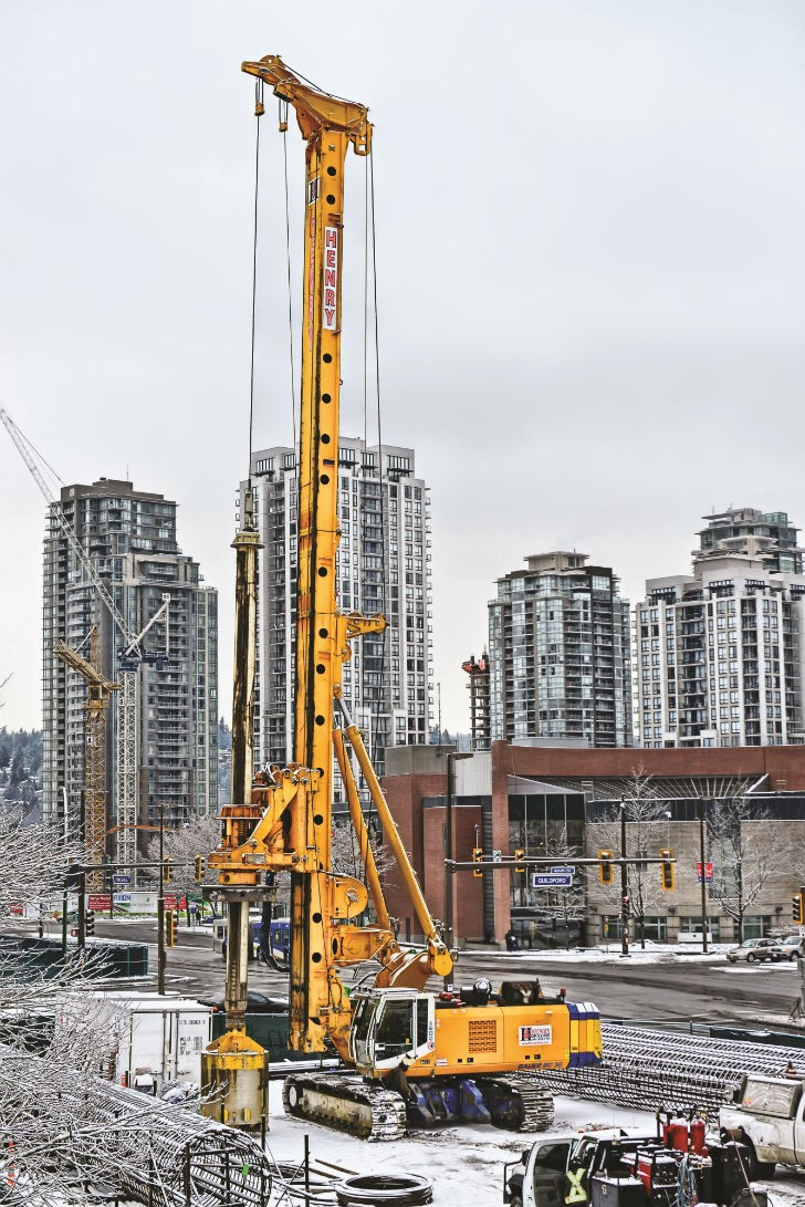 The Bauer BG 36 drill was one of the machines used to install the cast-in-place piles for the Evergreen Rapid Transit Line Project in British Columbia.