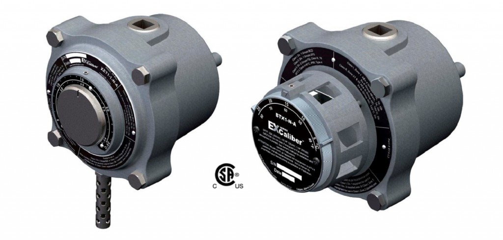 The new XET1-1-N-A and BTX1-N-A EXCaliber Series of explosion-proof air-sensing thermostats.