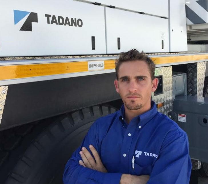 Tadano regional business manager, Justin Andrews, in the Tadano America yard.