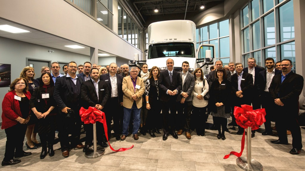 Employees at Kenworth Truck Centres - Cambridge celebrate the opening of the dealership's new, spacious and state-of-the-art facility in Cambridge to replaces its former Kitchener location.