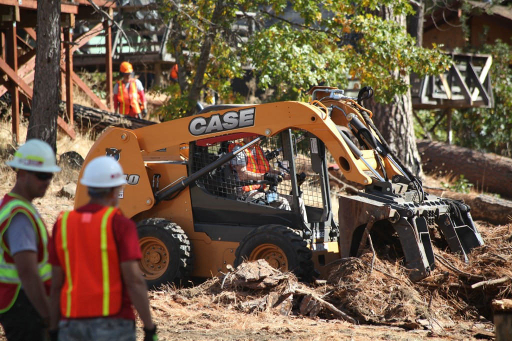 CASE and Sonsray Machinery provide heavy equipment for use in a land-clearing project at the San Jose Family Camp at Yosemite in Groveland, Calif.