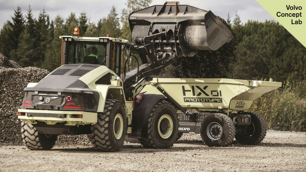 The hybrid LX1 wheel loader and HX1 autonomous load carrier.
