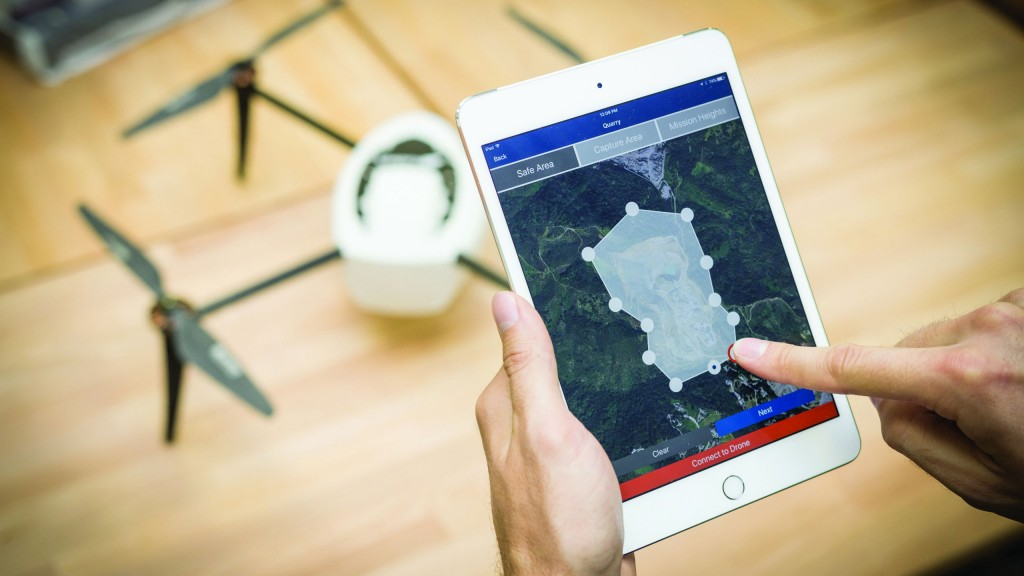 Kespry Drone + iPad means drones take-off, fly and land automatically without any human piloting
