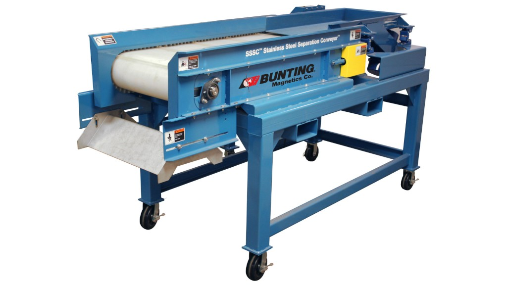 """Bunting Magnetics can now capture stainless steel fraction up to 5"""" with the new SSSC stainless steel separation conveyor"""