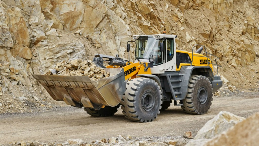 The L 586 XPower is part of the new Stage IV / Tier 4f compliant generation of large wheel loaders from Liebherr. The standard version, with an operating weight of 71,870 pounds, has a tipping load of 47,620 pounds.