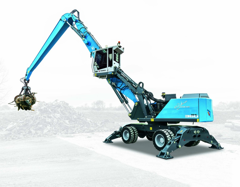 Terex Fuchs RHL350 F material handler features new upper carriage design, joystick controls and two boom/stick configuration options