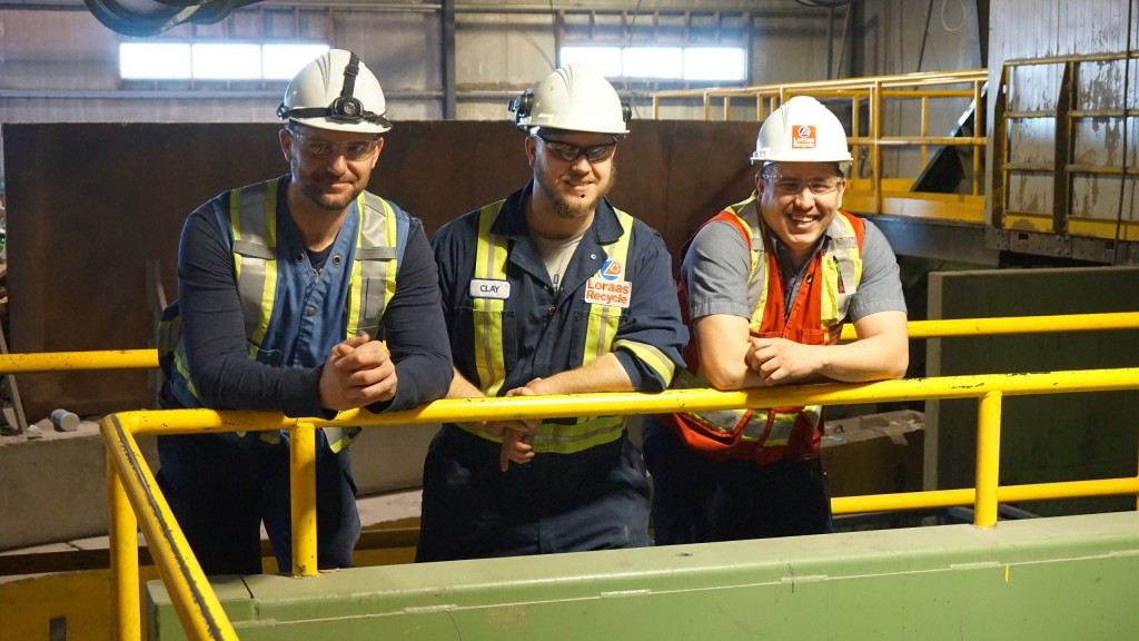 On the job at the Loraas MRF, recycle manager Dale Schmidt, with supervisors Clayton Ludba and Ryan Divall.