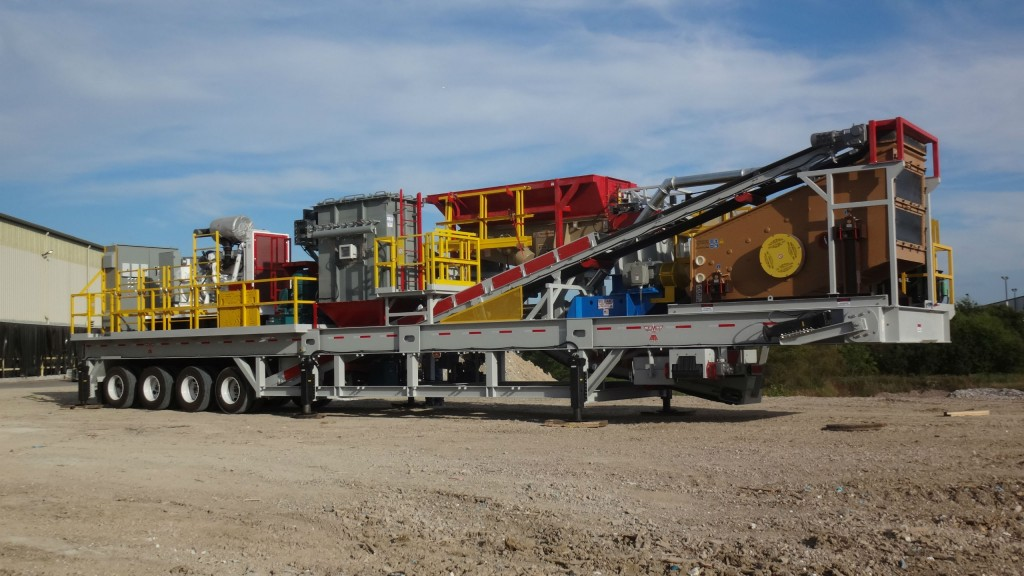 CEMCO's new Portable Industrial Tile Recycling Plant features a Turbo 54 VSI Crusher, primary crusher, dust collection system, triple-deck incline vibratory screen and vibratory feeder, all powered by a 500-kilowatt generator