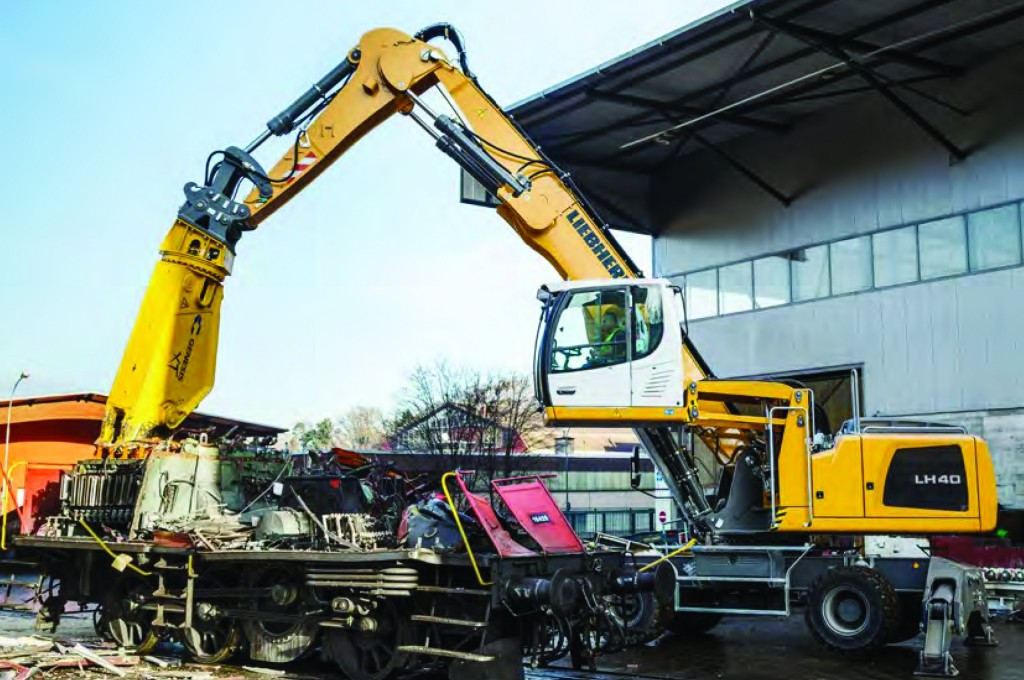 The LH 40, part of Liebherr's LH series of dedicated material handlers for scrap and solid waste processing.
