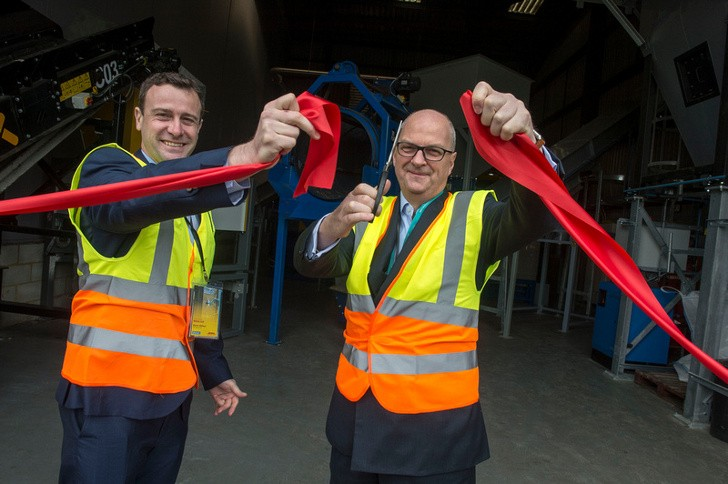 Charles Kirwan-Taylor Gatwick's Sustainability Director and Martin Willmore Senior VP DHL opening Gatwickl's new 3.8million waste plant.