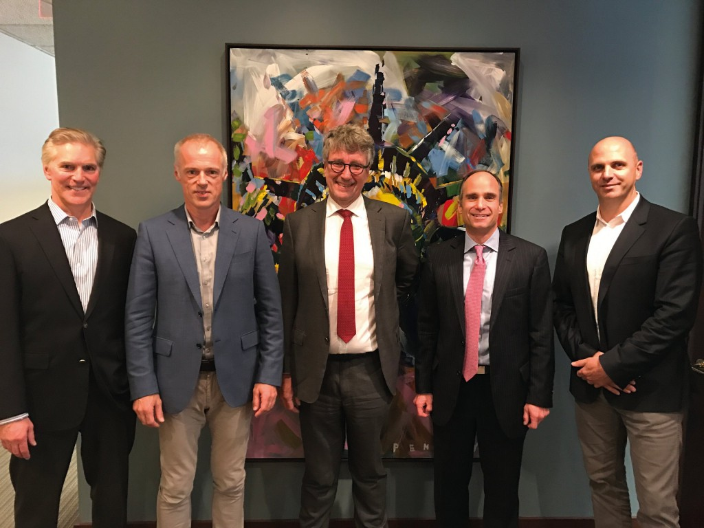 From left to right: Thomas Herrmann (MD Stanwich Partners LLC), Thomas Friedrich (MD Kinshofer Group), Erik Gabrielson (Advocat and Lifco Counsel, Vinge), Steven S. Boeschenstein (MD Stanwich Partners) and Francois Martin (GM Kinshofer USA).