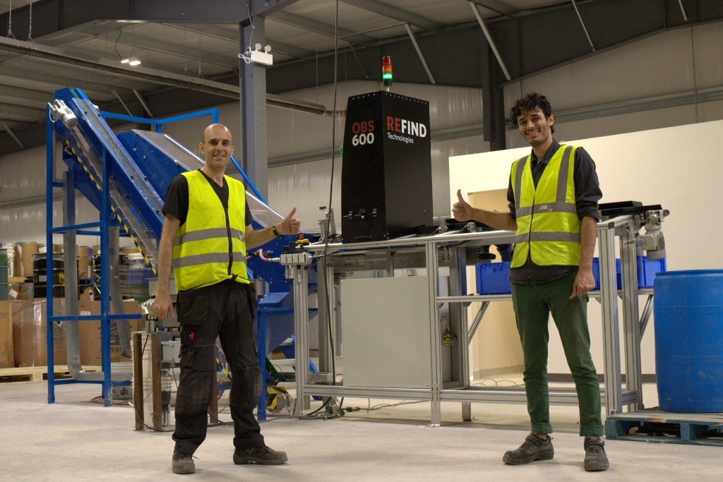 Refind's Amir Sabbagh Pour and Farshid Jafari Harandi, after the installation of Canada's first OBS600 optical battery sorting machine at Raw Materials Company, Niagara Falls, Ontario.