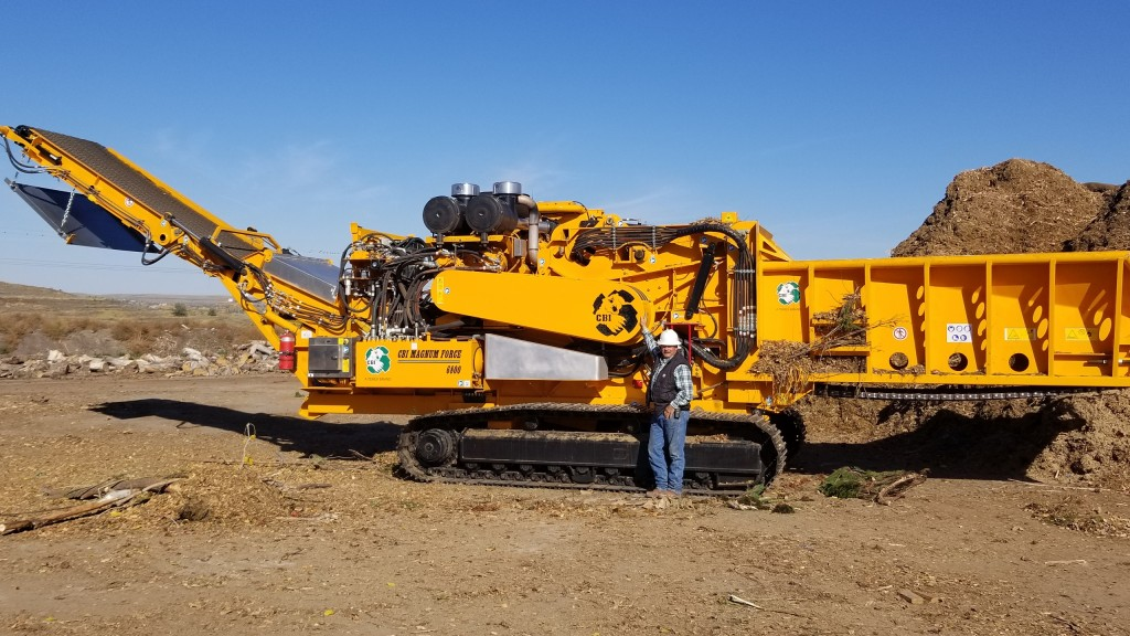 Jeff Barber, yard waste and landfill manager for the Rapid City Solid Waste Division, with their recently acquired 6800BT horizontal grinder.