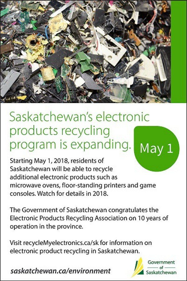 Expanded list of electronic products to be accepted for recycling in Saskatchewan