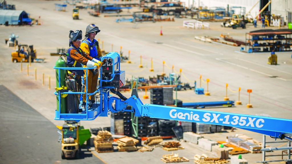 The Genie SX-135 XC , a self-propelled telescopic boom, is an example of a Group B, Type 3 MEWP.