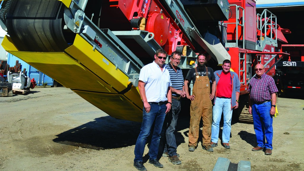 The team at Terrafirma with an SBM MFL crushing plant, from left, Norbert Dieplinger, Dave Rock, Justin Rasmussen, Dieter Altreiter and Erich Janke