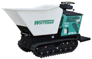 The MQ Whiteman WTB-16 track-drive power buggy features a tub with 16-cubic-foot capacity (2,500 pounds).