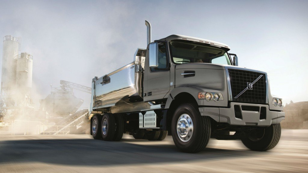 Volvo will display its VHD vocational trucks in several configurations at World of Concrete, including a VHD 300 similar to this one with a dump body.