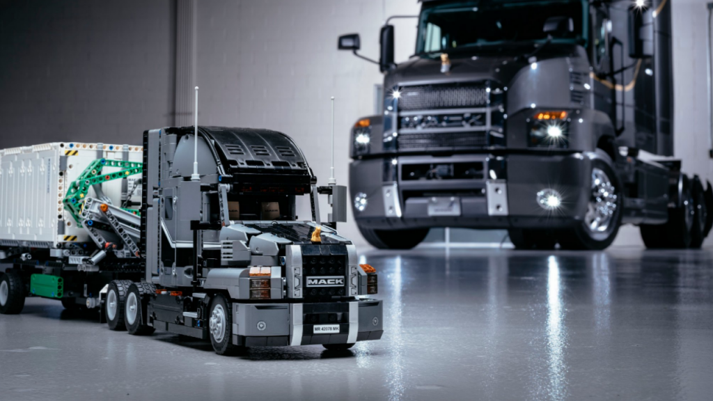 The LEGO Technic Mack Anthem building set is being launched concurrently with the actual product.