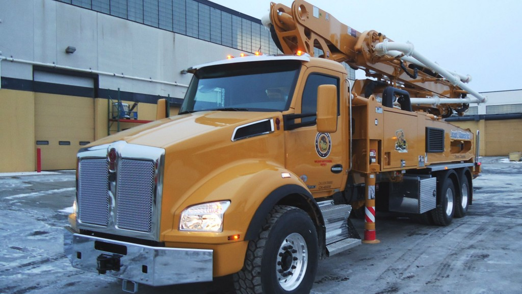Kenworth T880 fitted out as a concrete pumper.