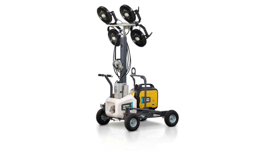 The Atlas Copco HiLight V3+ LED light tower is equipped with four 160-watt LED bulbs with specially designed directional glass optics capable of illuminating an area of up to 32,292 square feet.