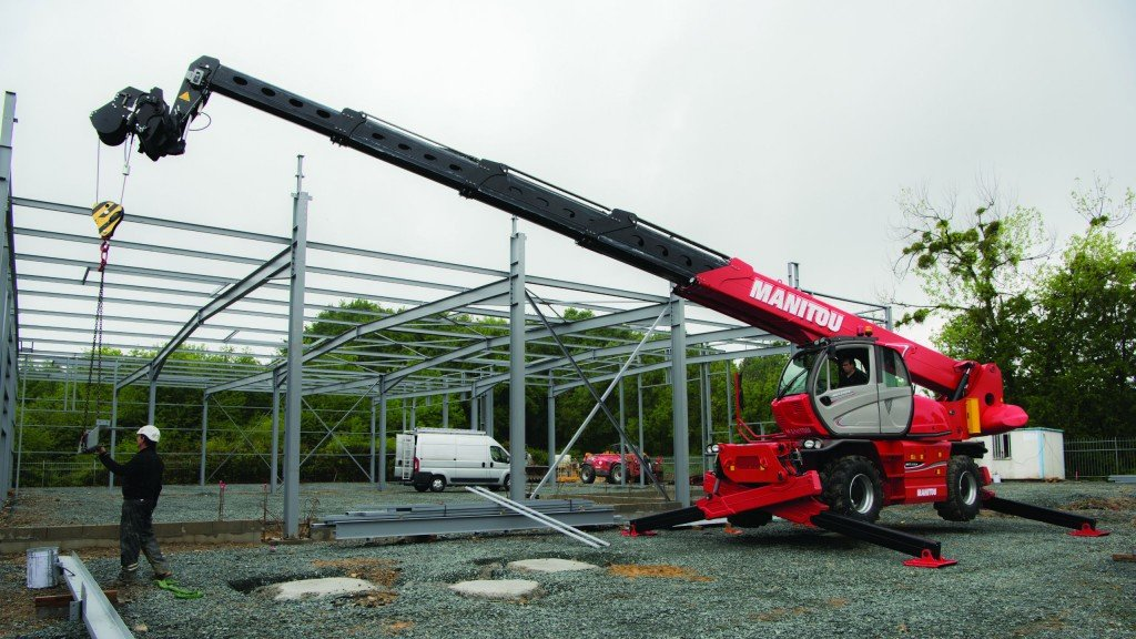 The Manitou MRT3050 rotating telehandler has a maximum load capacity of 11,000 pounds, lift height of 97 feet 9 inches and forward reach of 84 feet 8 inches.