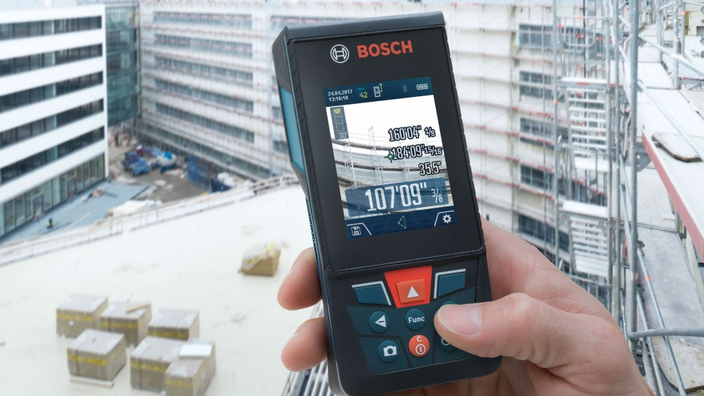 Measurement accuracy of these Bosch laser measure tools is +/- 1/16 inch.