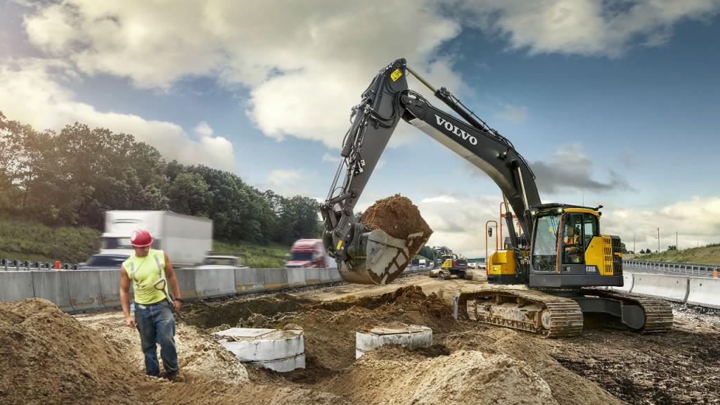 The Volvo ECR355E short swing radius excavator is ideal for smaller job sites.