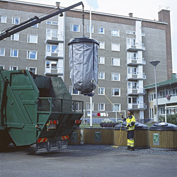 A Molok Deep Collection system being lifted in Kitchener, Ontario.