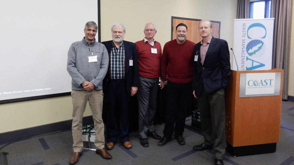 Talking plastics at the CWMA February 2018 meeting and conference in Nanaimo, B.C., from left: Rustam Punja, Geocycle, Craig Foster, CPIA; Ian Kidd, CasCell Trading ; Pat McLaughlin, King County Solid Waste Division; and Will Burrows, executive director of the Coast Waste Management Association.