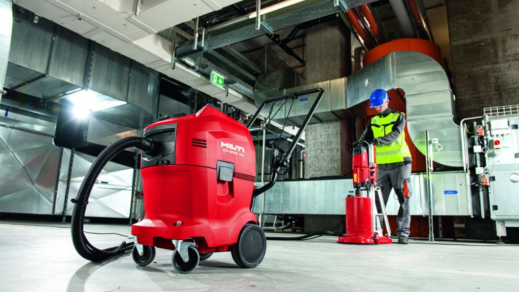 The Hilti DD-WMS 100 Water Management System efficiently takes care of slurry in diamond drilling applications.
