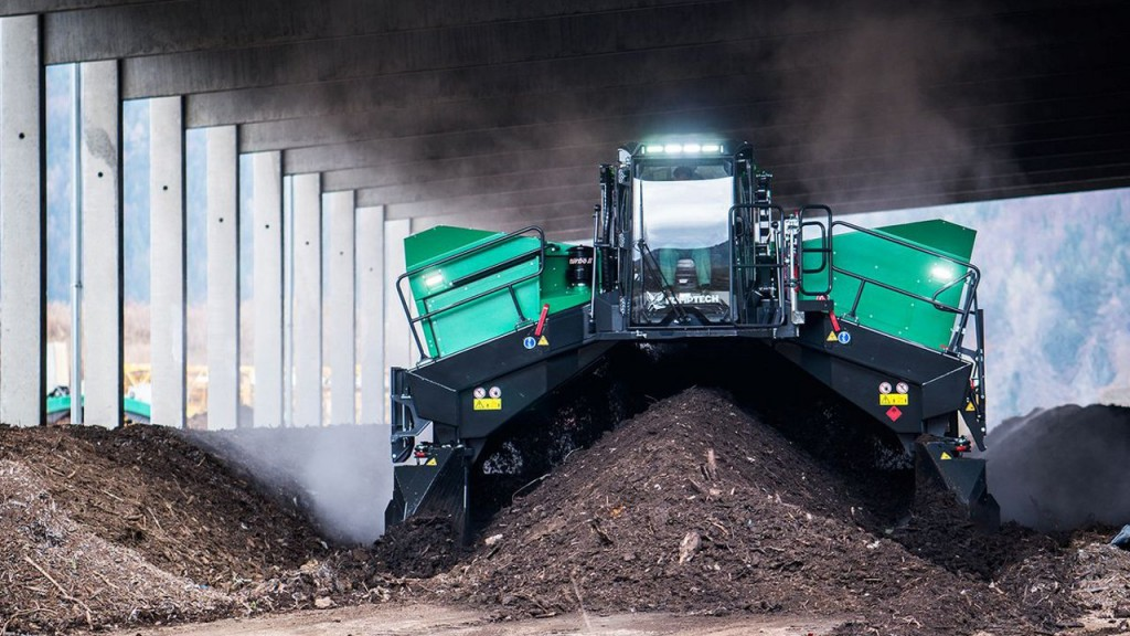 The Topturn X5000, Komptech's new self-propelled, high-capacity windrow turner.