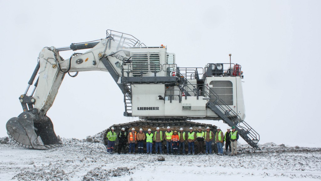 The Liebherr R 9400 mining excavator commissioned for Trapper Mining Inc. is in backhoe configuration.